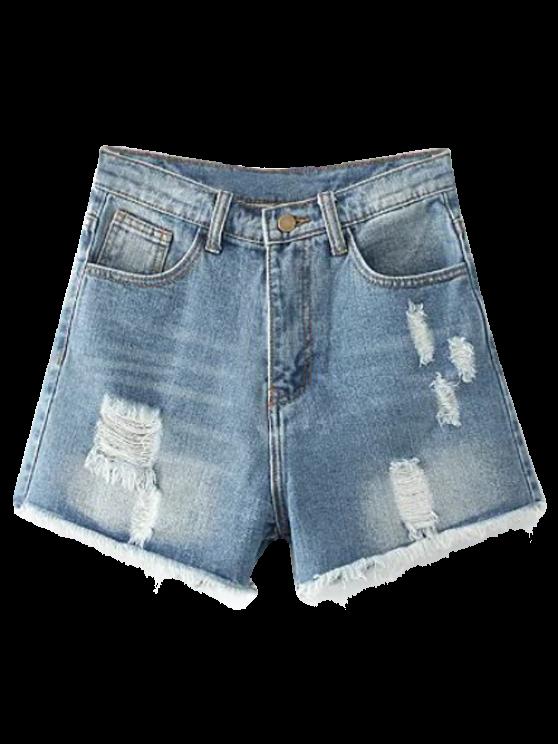 Lamentando puntos de corte pantalones cortos de mezclilla - Azul claro 25