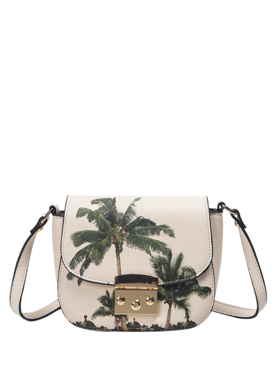Palm Tree Print Crossbody Bag - WHITE  Mobile
