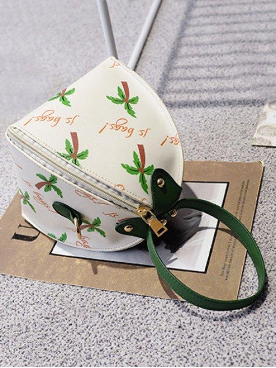 Triangle Shaped Palm Print Wristlet Bag - WHITE  Mobile