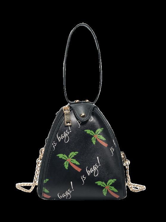 chic Triangle Shaped Palm Print Wristlet Bag - BLACK