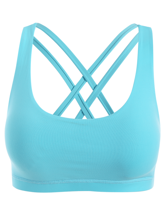 Strappy Crossover Sports Bra - BLUE GREEN M Mobile