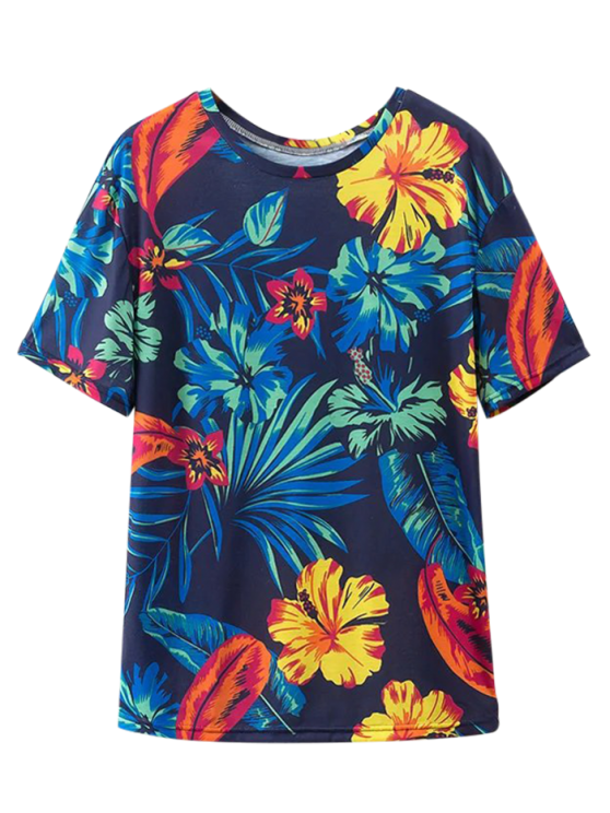 outfit Loose Tropical Print T-Shirt - PURPLISH BLUE S