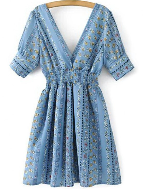 Printed Double V A-Line Dress - BLUE S Mobile