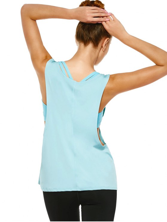 Yoga Dropped Armhole Sports Tank Top - PHOTO CYAN M Mobile