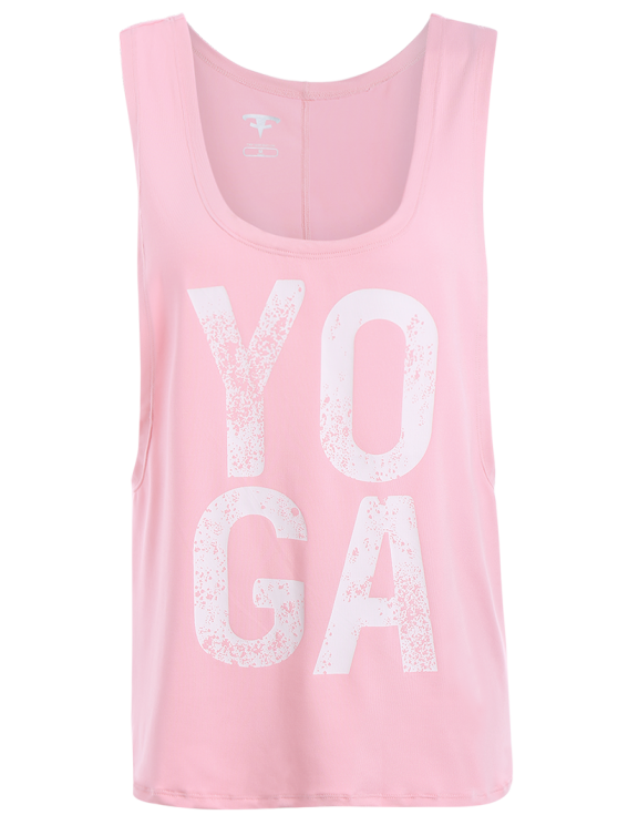 Yoga Dropped Armhole Sports Tank Top - PINK M Mobile