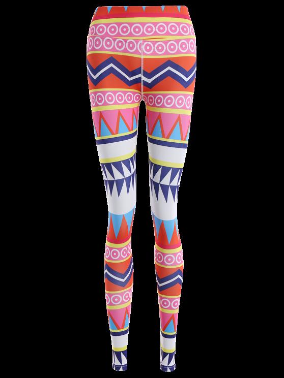 Zigzag Geometric Print Footless Leggings - MULTICOLOR M Mobile