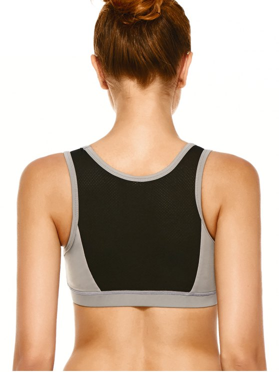 Mesh Panel High-Impact Sports Bra - GRAY M Mobile