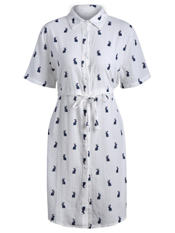 Printed Button Up Drawstring Waist Shirt Dress - PURPLISH BLUE ONE SIZE Mobile