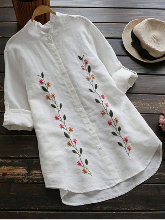 lady Floral Embroidered Button Up Linen Shirt - WHITE ONE SIZE