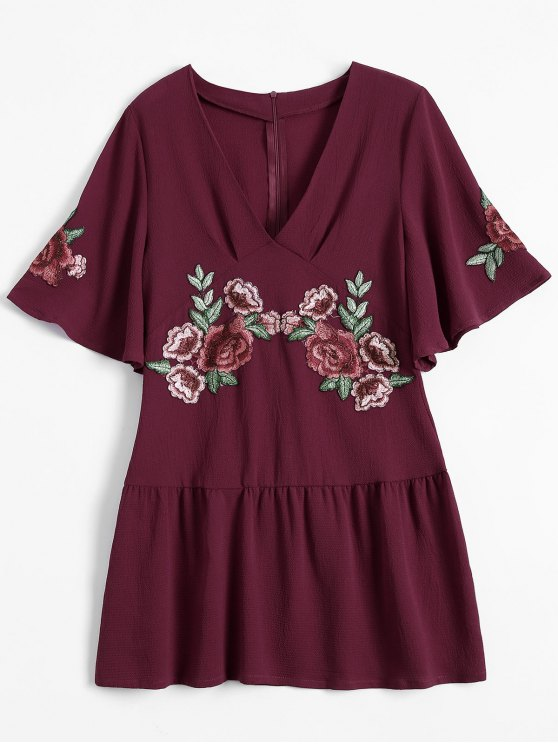shop Embroidered Floral Ruffle Hem Dress - WINE RED L