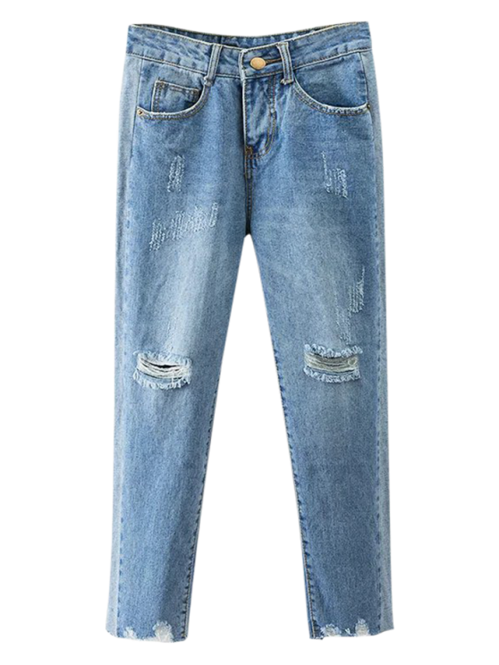 ladies Cutoffs Ripped Tapered Jeans - DENIM BLUE L