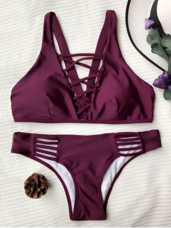 best Crisscross Strap Padded Bikini Set - BURGUNDY M