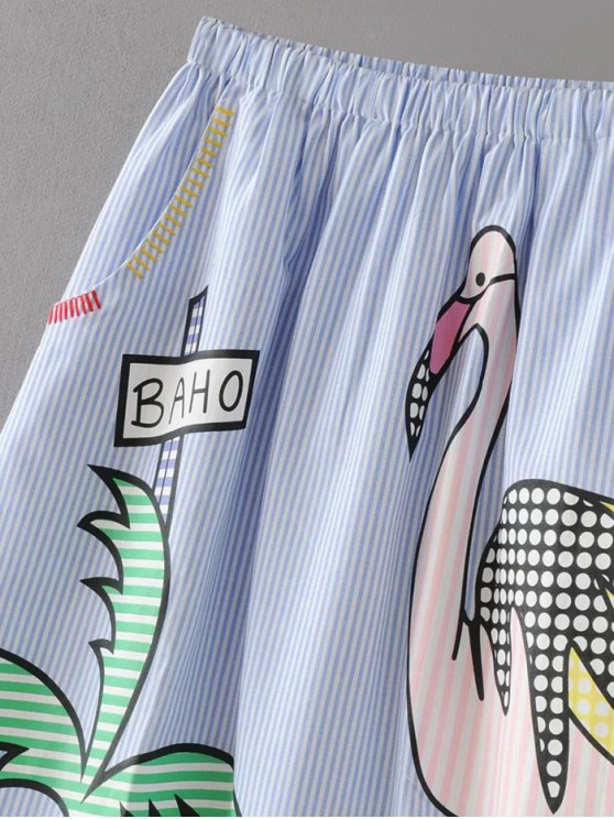 Stripes Patched A-Line Skirt - BLUE L Mobile