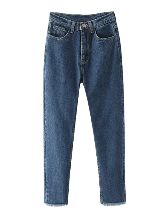 Tapered Frayed Hem Jeans - DEEP BLUE 2XL Mobile
