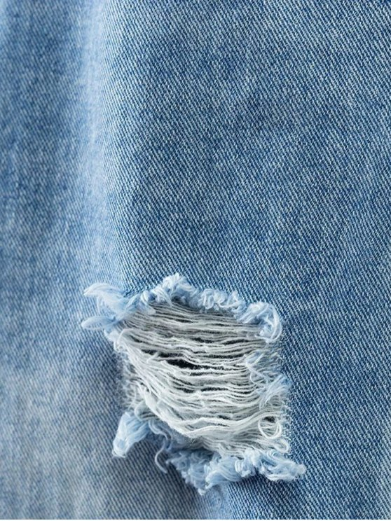 Bleach Wash Ripped Tapered Jeans - DENIM BLUE XL Mobile