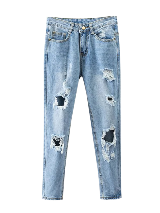ladies Bleach Wash Ripped Tapered Jeans - DENIM BLUE XL