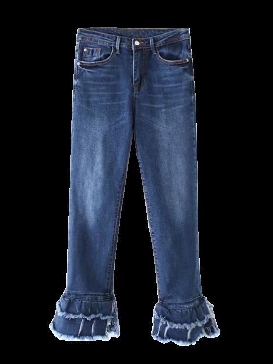 unique Cutoffs Layered Flare Jeans - DENIM BLUE L