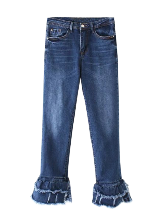 Cutoffs Layered Flare Jeans - DENIM BLUE M Mobile