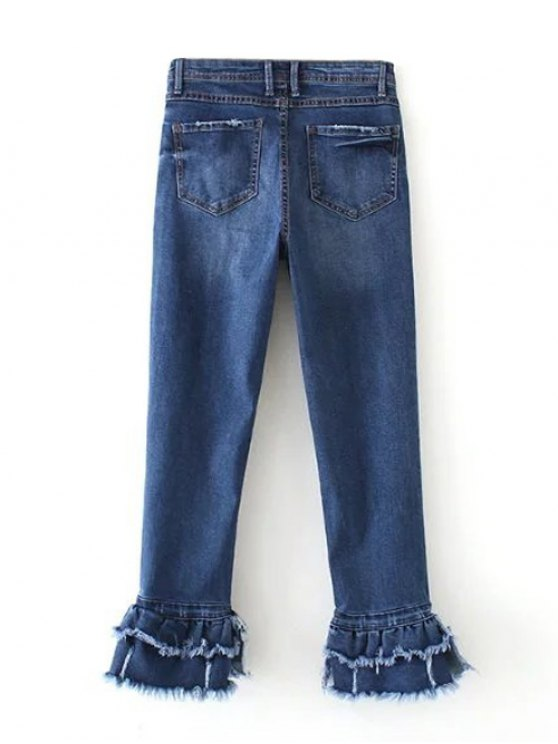 Cutoffs Layered Flare Jeans - DENIM BLUE S Mobile