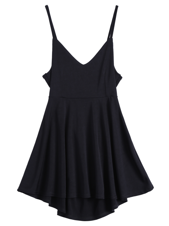 chic Backless Lace Up Skater Dress - BLACK L
