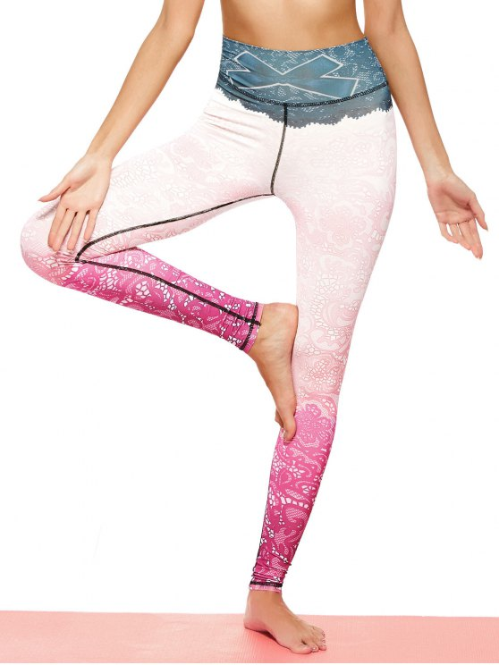 Print Lace Ombre Stirrup Leggings - PINKISH PURPLE M Mobile