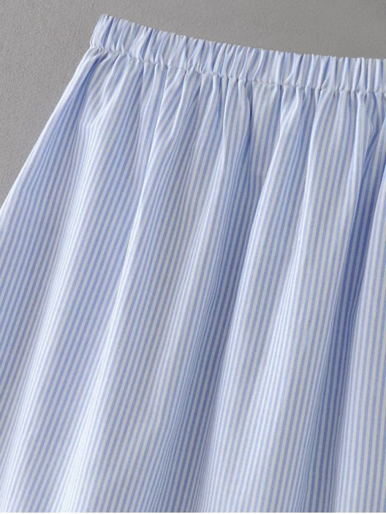 Stripes Patched A-Line Skirt - BLUE S Mobile