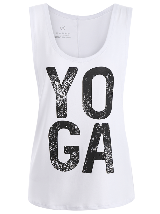 Yoga Dropped Armhole Sports Tank Top - WHITE M Mobile