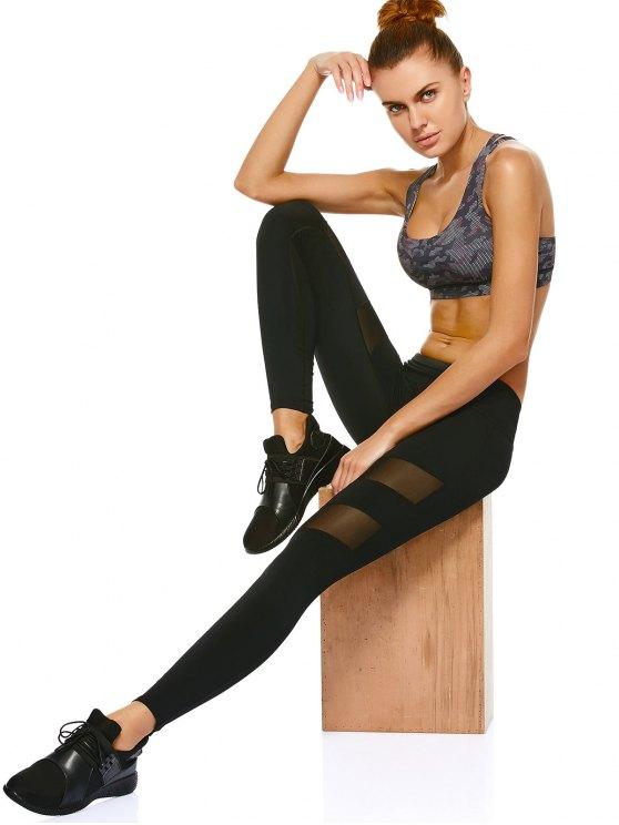 Mesh Insert Sports Leggings - BLACK M Mobile