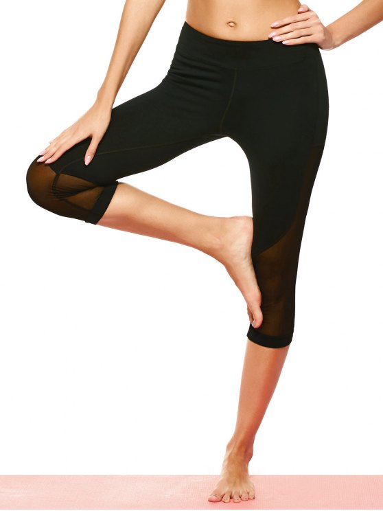 Mesh Panel Capri Leggings - BLACK L Mobile