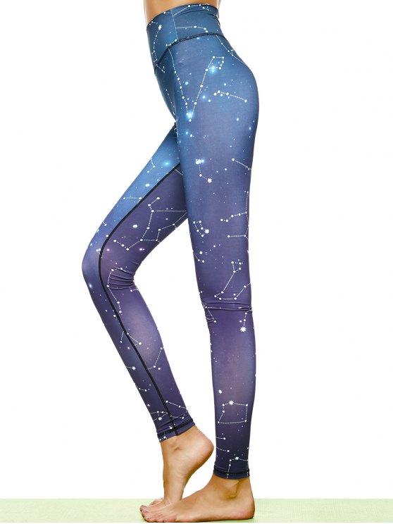 Constellation Print Stirrup Leggings - PURPLE L Mobile