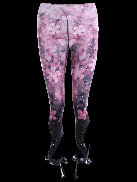 Cut Out Print Tie Hem Dancing Leggings - PINK M Mobile