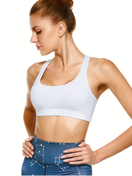 Strappy Crossover Sports Bra - WHITE M Mobile