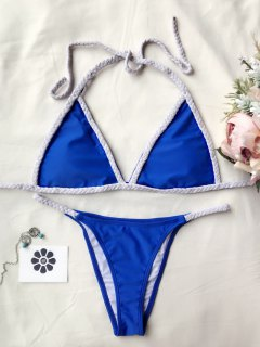 Braided Two Tone String Bikini Set - Blue L