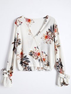 Floral Flare Sleeve Surplice Blouse - Colormix S