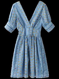 Robe Trapèze Imprimée Avec Col Double V - Bleu S