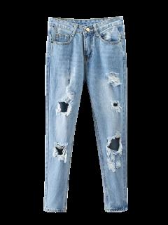 Jeans Déchiré Effilé à Bleach Lavage - Denim Bleu M