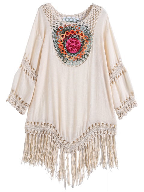 fashion Crochet Bib Beach Cover-Up Tunic - BEIGE ONE SIZE Mobile