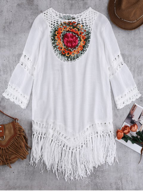 chic Crochet Bib Beach Cover-Up Tunic - WHITE ONE SIZE Mobile