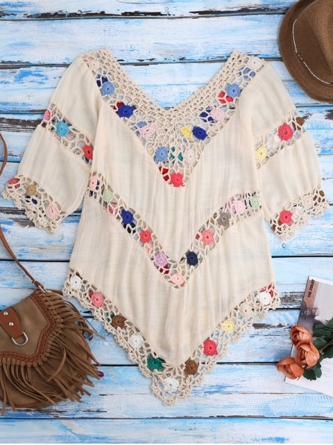buy Crochet Chevron Beach Cover-Up Tunic - BEIGE ONE SIZE Mobile