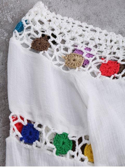 women Crochet Chevron Beach Cover-Up Tunic - WHITE ONE SIZE Mobile