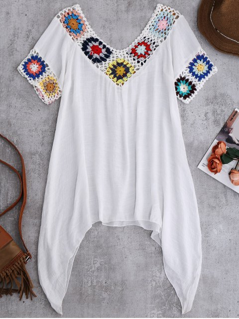 lady Pointed Hem Crochet Beach Cover-Up Tunic - WHITE ONE SIZE Mobile