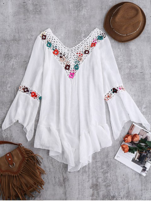 hot Bell Sleeve Beach Cover-Up For Swimsuits - WHITE ONE SIZE Mobile