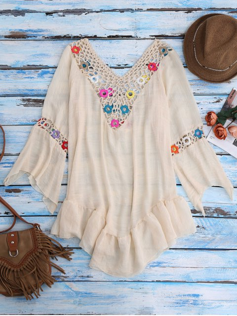 outfits Bell Sleeve Beach Cover-Up For Swimsuits - BEIGE ONE SIZE Mobile
