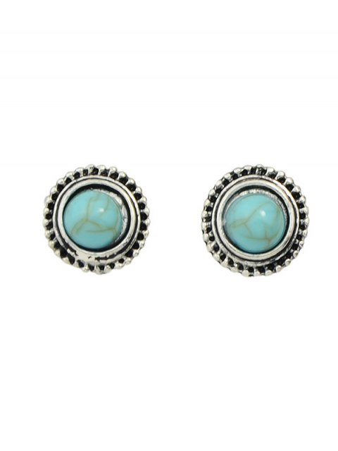 fancy Faux Turquoise Rhinestone Circle Earring Set - SILVER  Mobile