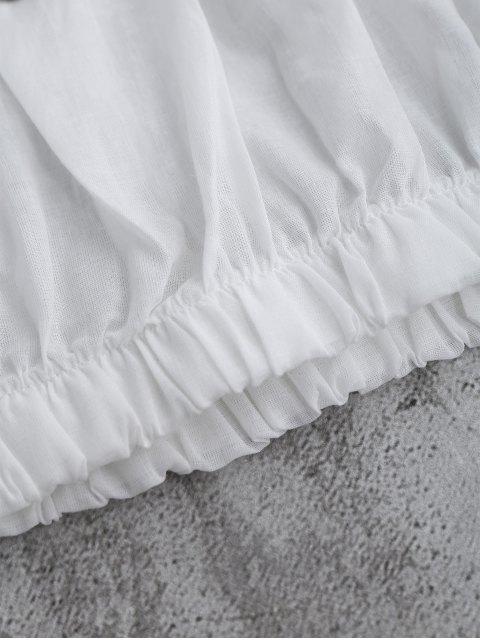 hot Off Shoulder Flare Sleeve Crop Top - WHITE S Mobile