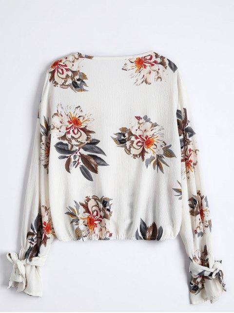 latest Floral Flare Sleeve Surplice Blouse - COLORMIX S Mobile
