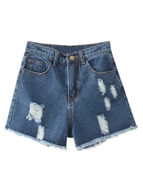 chic Cutoffs Distressed Denim Shorts - DEEP BLUE 24 Mobile