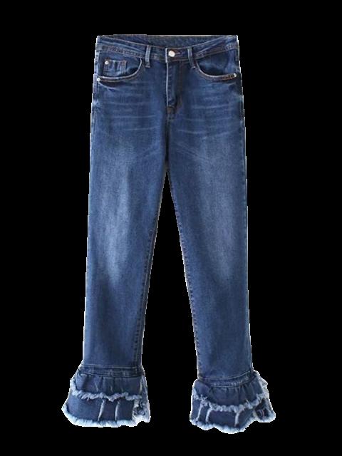 unique Cutoffs Layered Flare Jeans - DENIM BLUE L Mobile