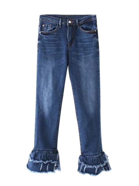 affordable Cutoffs Layered Flare Jeans - DENIM BLUE S Mobile