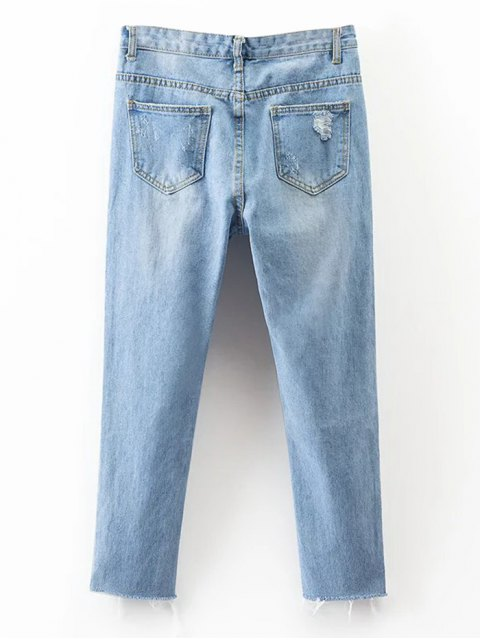 women Rippes Tapered Jeans - DENIM BLUE M Mobile